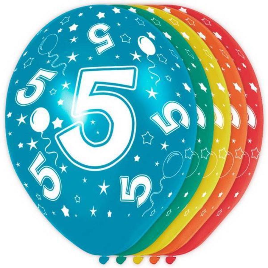 5 jaar ballonnen rondom bedrukt