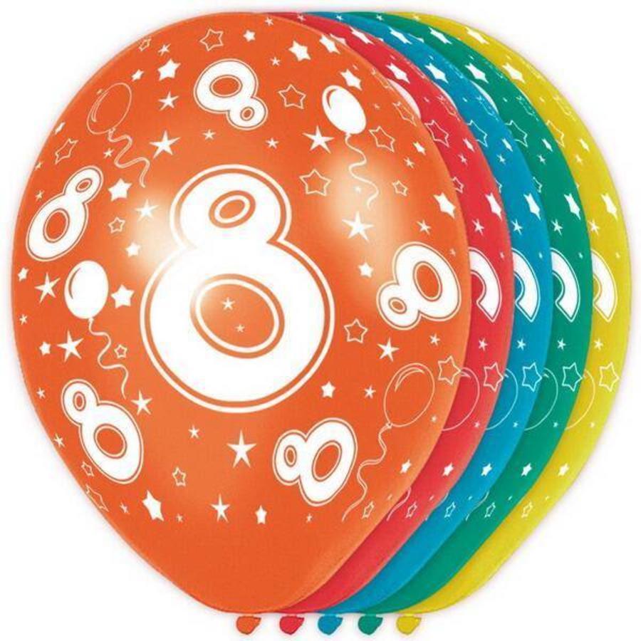 8 jaar ballonnen rondom bedrukt