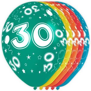 Ballonnen 30 jaar rondom bedrukt