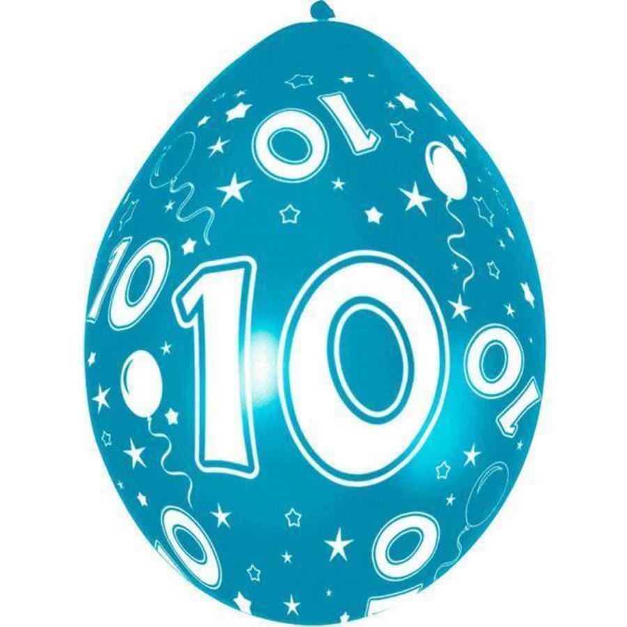 10 jaar ballonnen rondom bedrukt