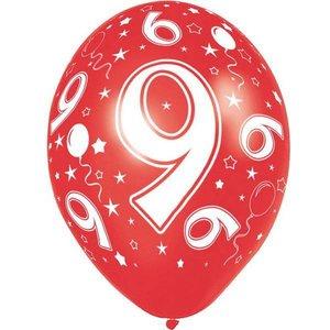 9 jaar ballonnen rondom bedrukt