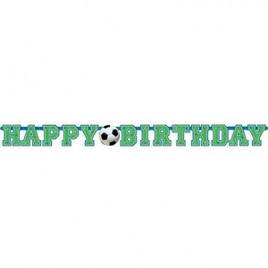 Voetbal letterslinger happy birthday