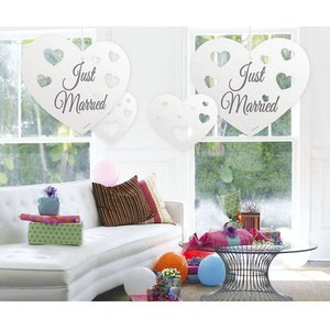 Hangdecoratie witte harten Just Married