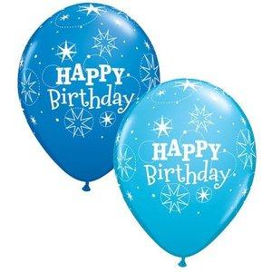 Ballon happy birthday 5 stuks blauw