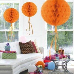 Honeycomb decoratie 30cm oranje