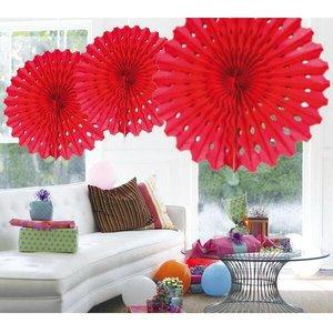 Honeycomb waaier 45cm rood