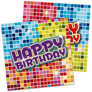 Servetten Happy Birthday Blocks