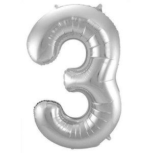 Folieballon 3 jaar ZILVER voor lucht of helium MEGA