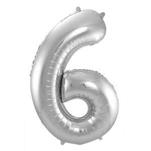 Folieballon 6 jaar ZILVER voor lucht of helium MEGA
