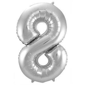 Folieballon 8 jaar ZILVER voor lucht of helium MEGA