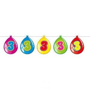 Slinger 3 jaar bedrukt op decoratieballonnen