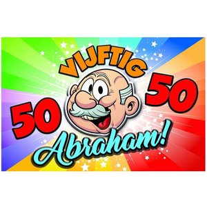Wanddecoratie 50 jaar Abraham Rainbow 3D