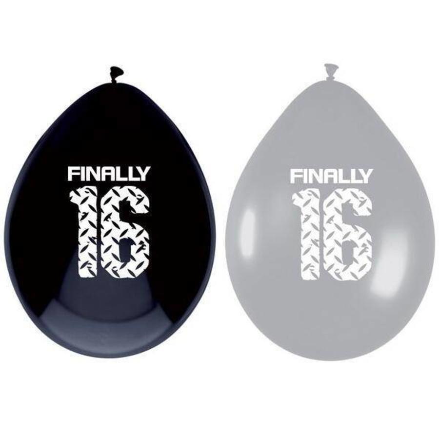 Ballonnen 16 jaar zwart zilver