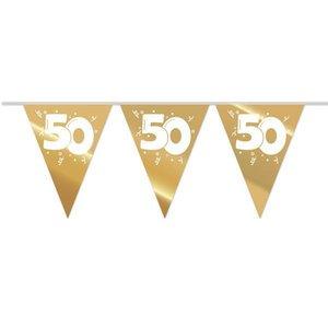 Vlaggenlijn slinger 50 jaar goudkleurig