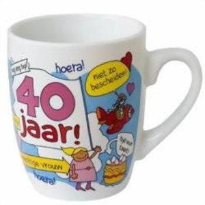 Mok 40 jaar cartoon vrouw