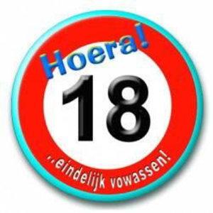 Button 18 jaar verkeersbord