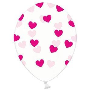 Ballonnen transparant met donkerroze hartjes