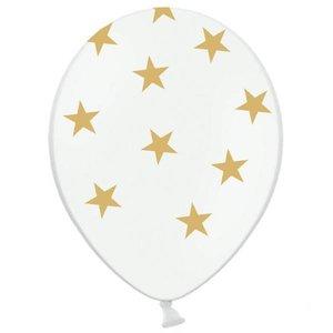 Ballonnen wit met goudkleurige sterren