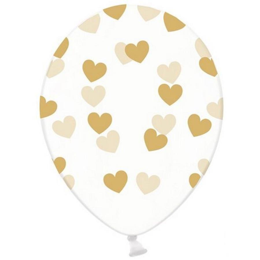 Ballonnen transparant met goudkleurige hartjes