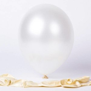 Ballonnen metallic wit 1e klas 20 stuks