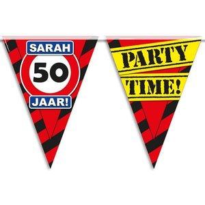 Vlaggenlijn slinger 50 jaar Sarah party