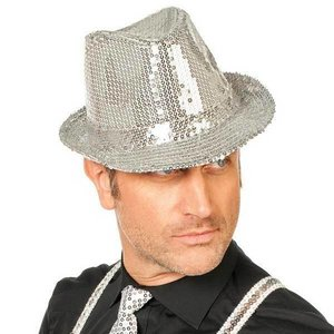 Hoed popstar met pailletten zilver