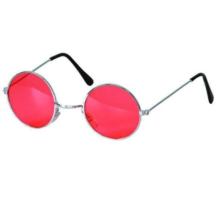 Bril hippie met rood gekleurd glas