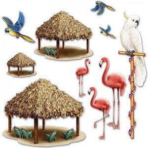 Wanddecoratie Tiki huts en tropische vogels