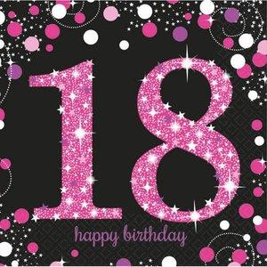 Servetten 18 jaar stijlvol zwart-roze-wit