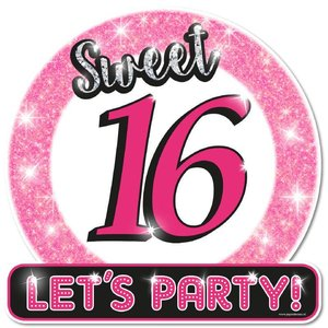 Deurbord Sweet 16 Let's Party
