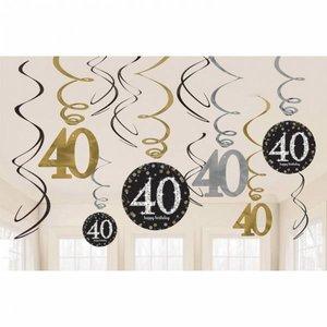Hangdecoratie 40 jaar stijlvol zwart-goud-zilver
