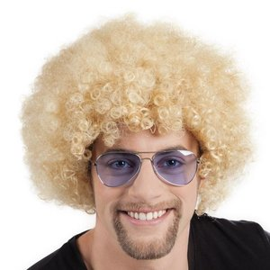 Pruik afro blond luxe