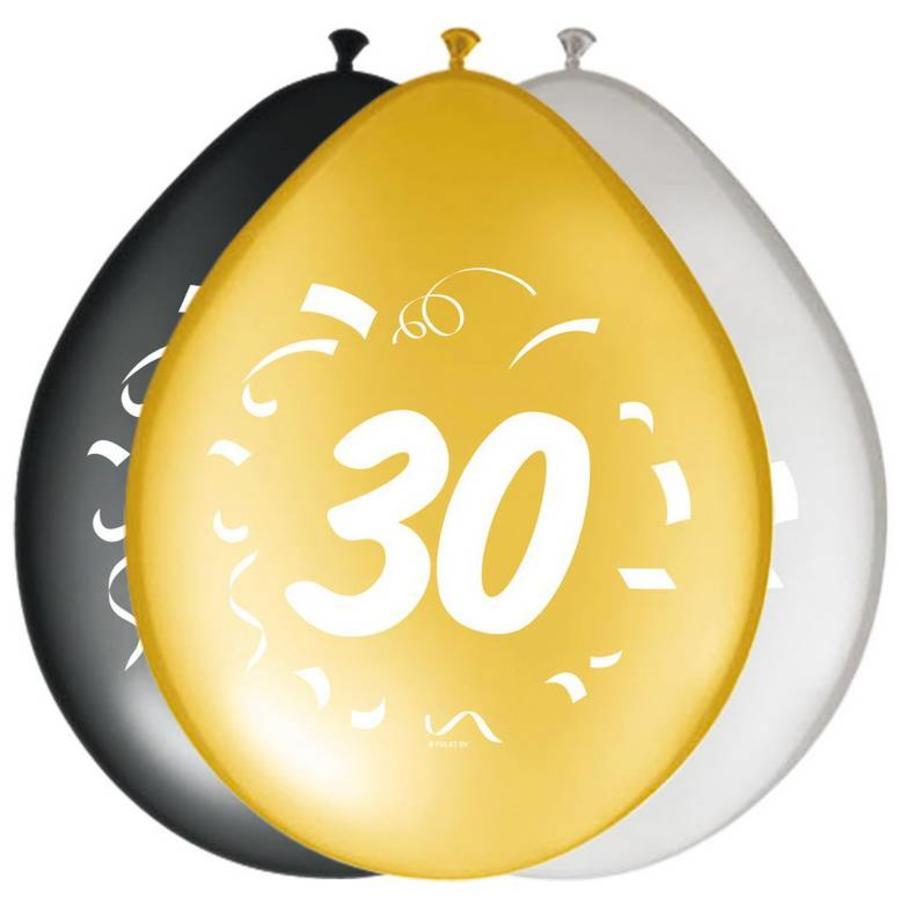 Ballonnen 30 jaar goud zilver zwart