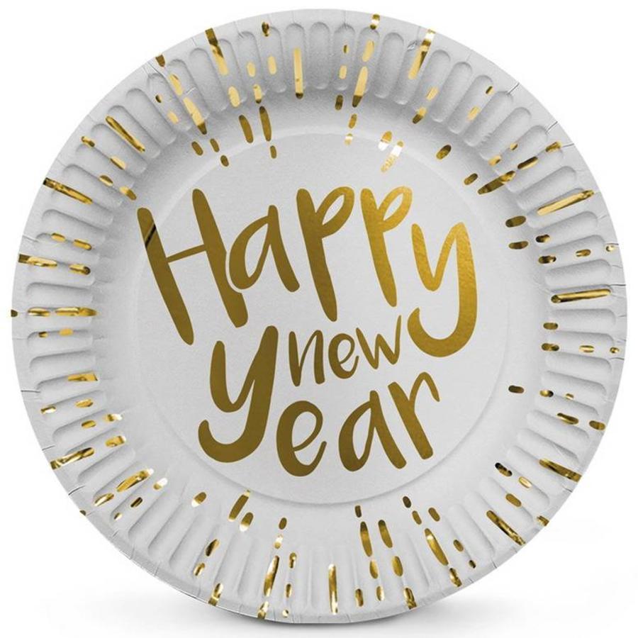 Bordjes Happy New Year goud wit