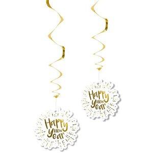 Hangdecoratie Happy new Year goud wit