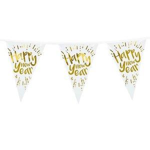 Vlaggenlijn Happy New Year goud wit