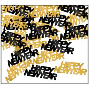 Confetti Happy New Year goud zwart