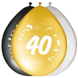 Ballonnen 40 jaar goud zilver zwart