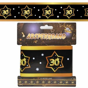 Decoratie lint 30 jaar goud zwart