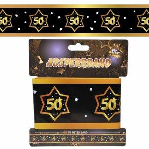 Decoratie lint 50 jaar goud zwart