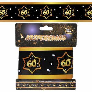 Decoratie lint 60 jaar goud zwart