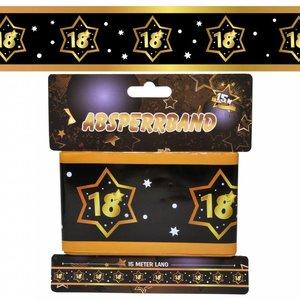 Decoratie lint 18 jaar goud zwart