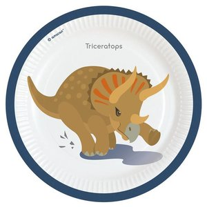 Bordjes Happy Dinosaurus groot 8 stuks
