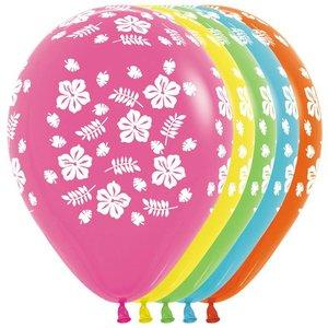Ballonnen Hibiscus bloemen 5 stuks