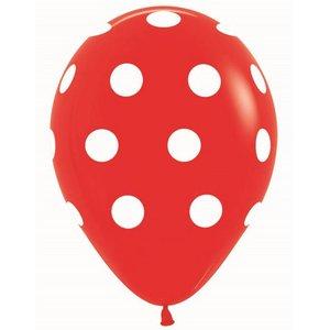 Ballonnen rood met witte stippen 5 stuks