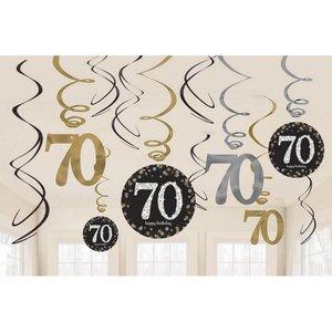 Hangdecoratie 70 jaar stijlvol zwart-goud-zilver