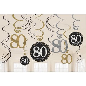 Hangdecoratie 80 jaar stijlvol zwart-goud-zilver