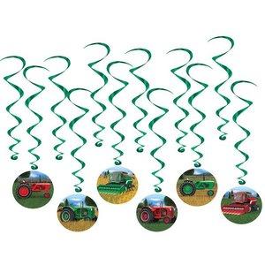 Hangdecoratie Tractors 12 stuks