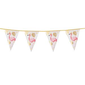 Vlaggenlijn Flamingo goud roze 4 meter