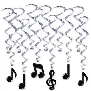 Hangdecoratie Whirls Muzieknoten 12 delig